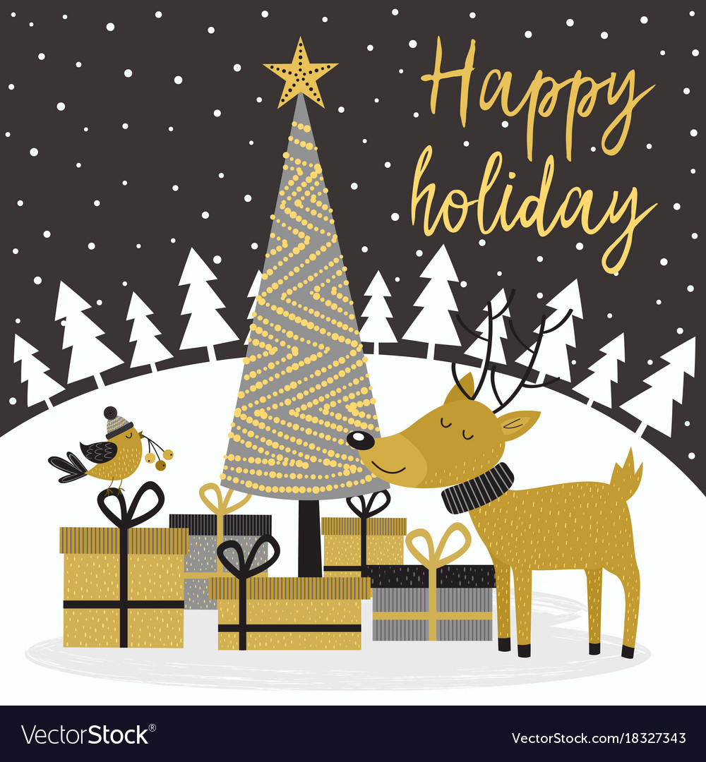 Merry christmas gold card with deer and gifts