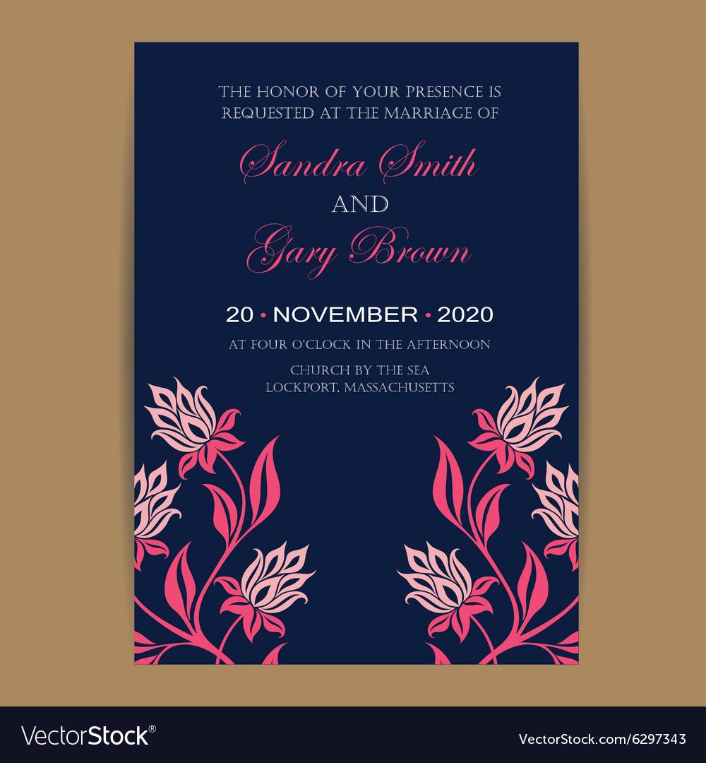 Navy coral wedding invitation Royalty Free Vector Image