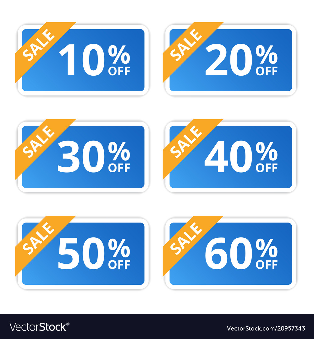 Sale colorful tags banners stickers offer