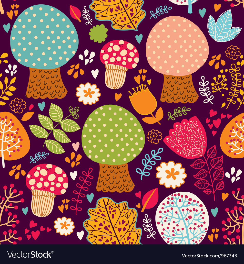 Seamless Cute Trees Pattern