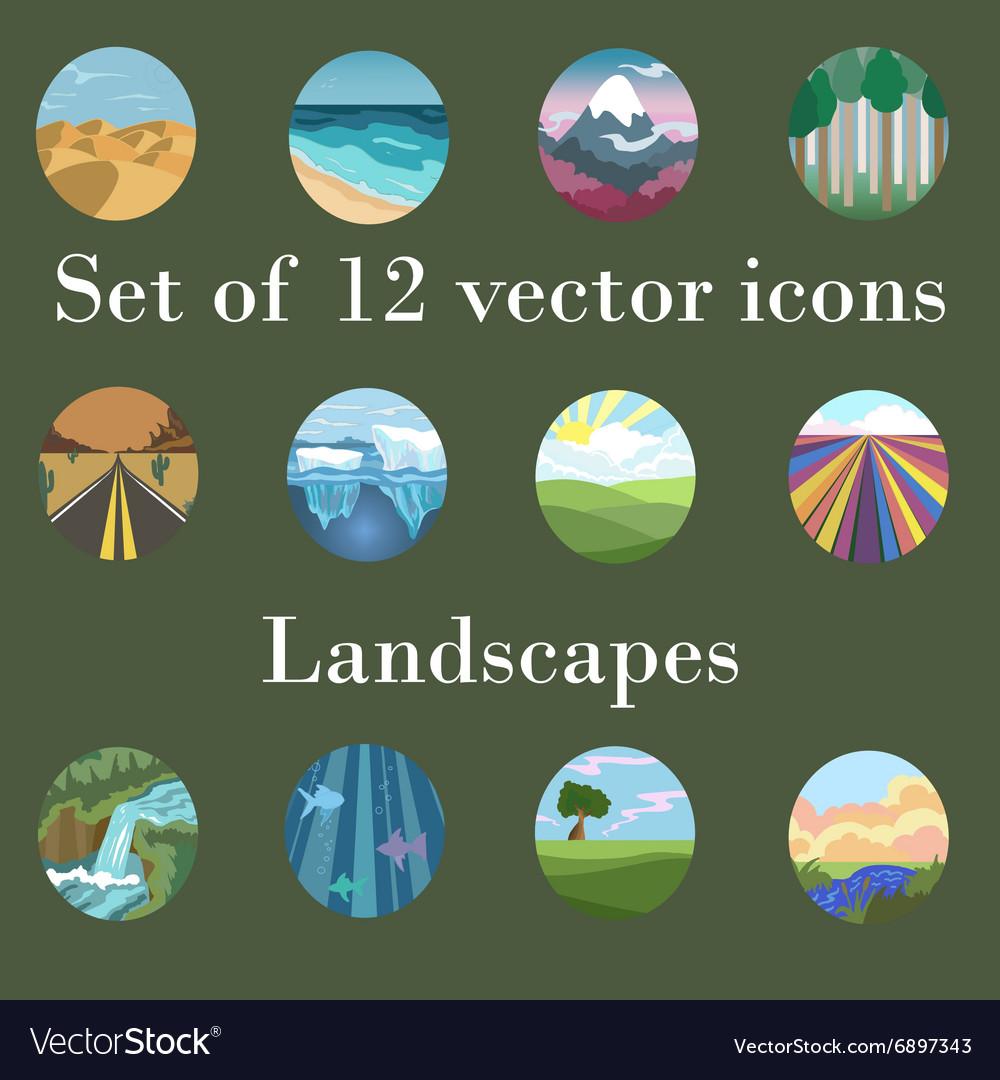 Set of icons landscapes