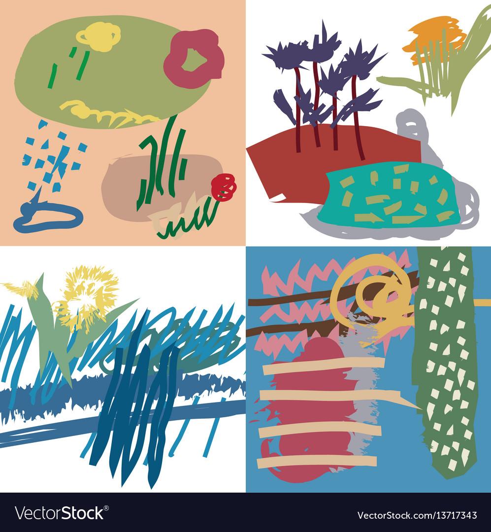Spring set artistic universal floral cards