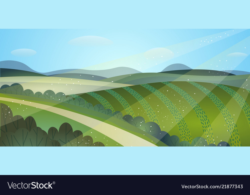 Sunny summer landscape green fields harvest hills