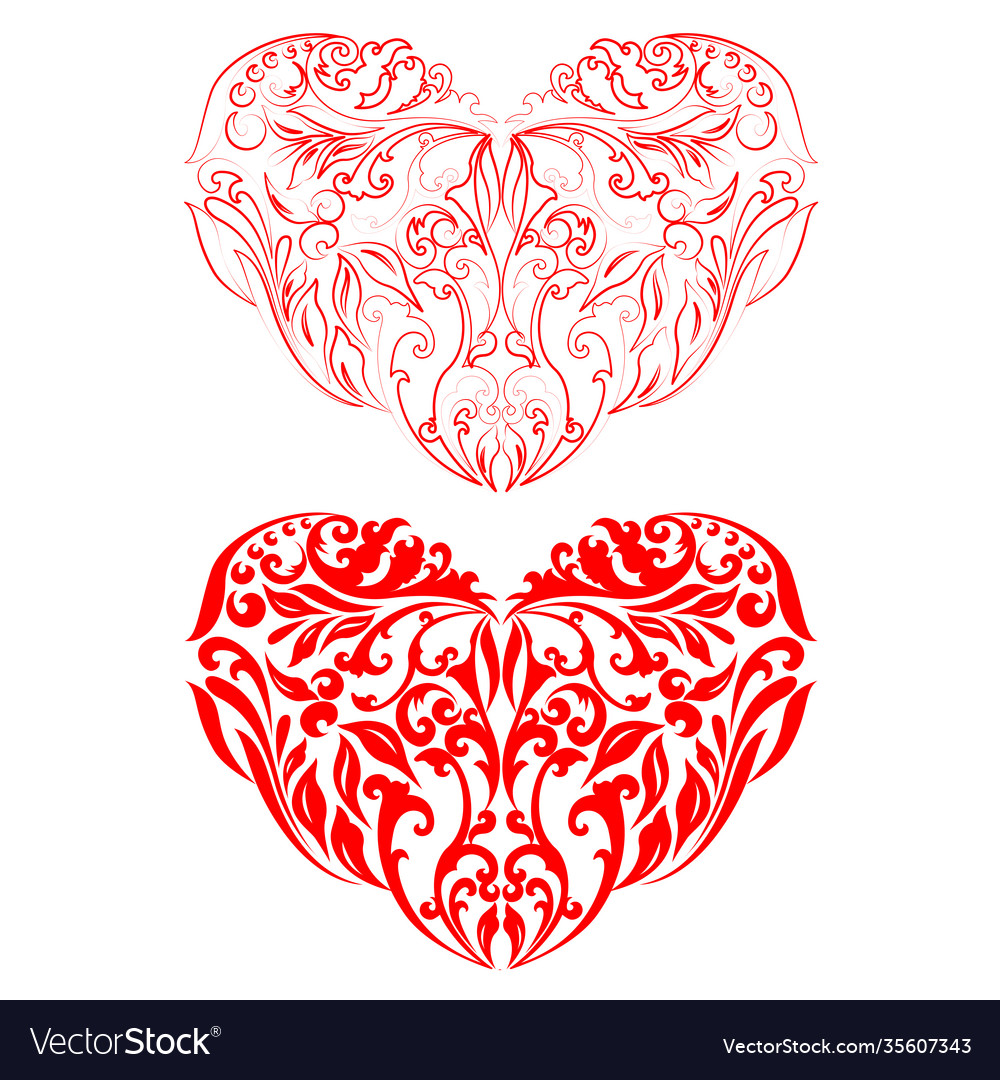 Two red hearts silhouettes