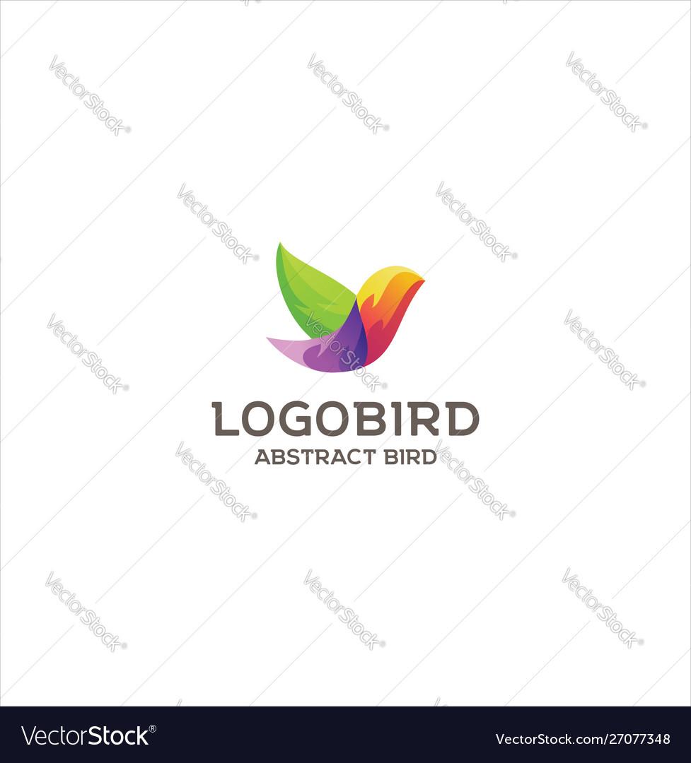 Abstract colorful bird logo design creative sign vector image