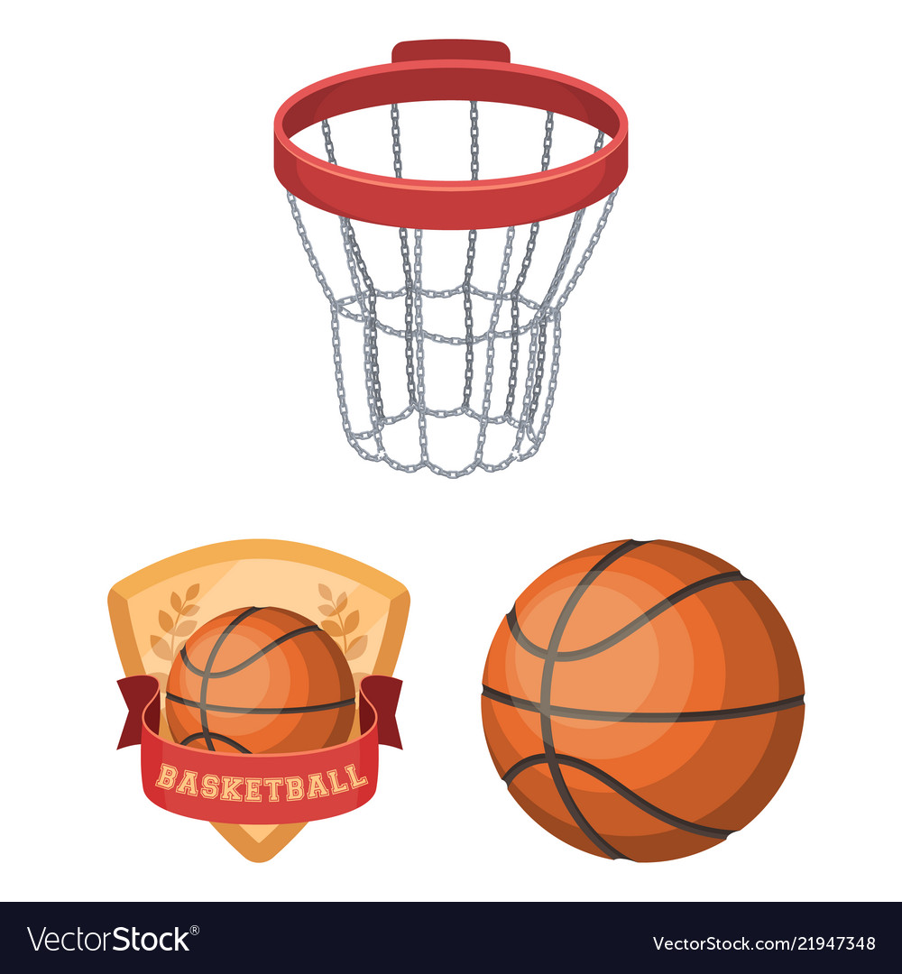 Basketball and attributes cartoon icons in set