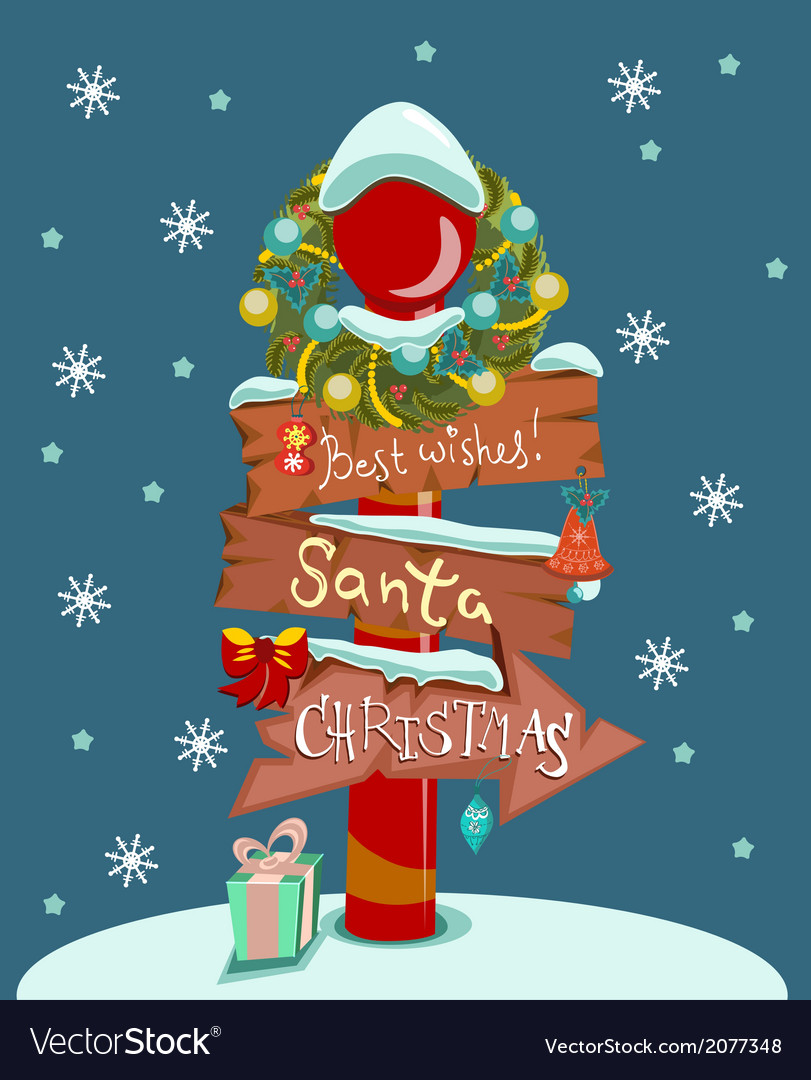 Christmas background with wooden sign vector image