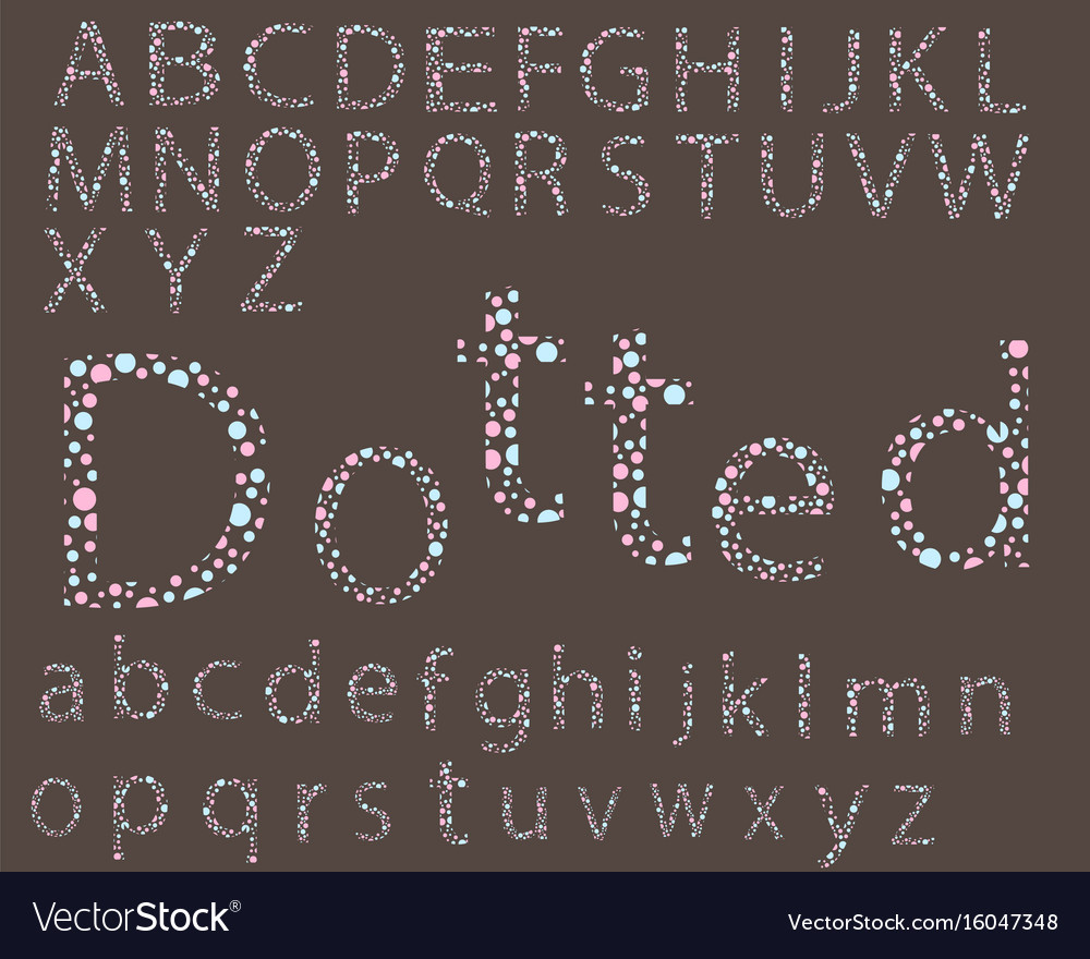 Dotted pastel font vector image