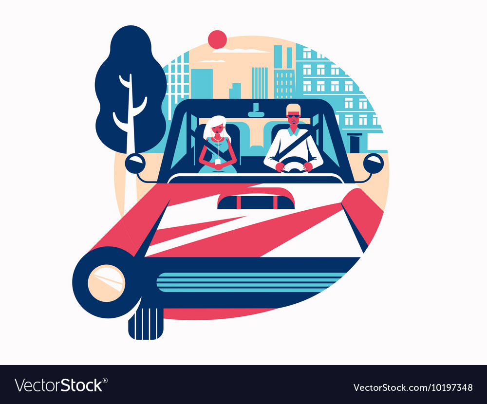 Driver driving a car vector image