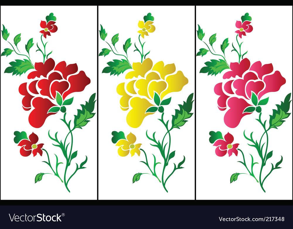 Flower pattern vertical rose tattoo vector image