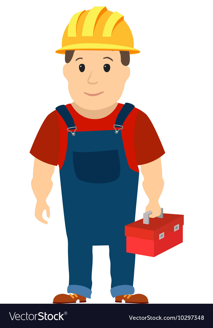 Happy cartoon repairman or construction worker vector image