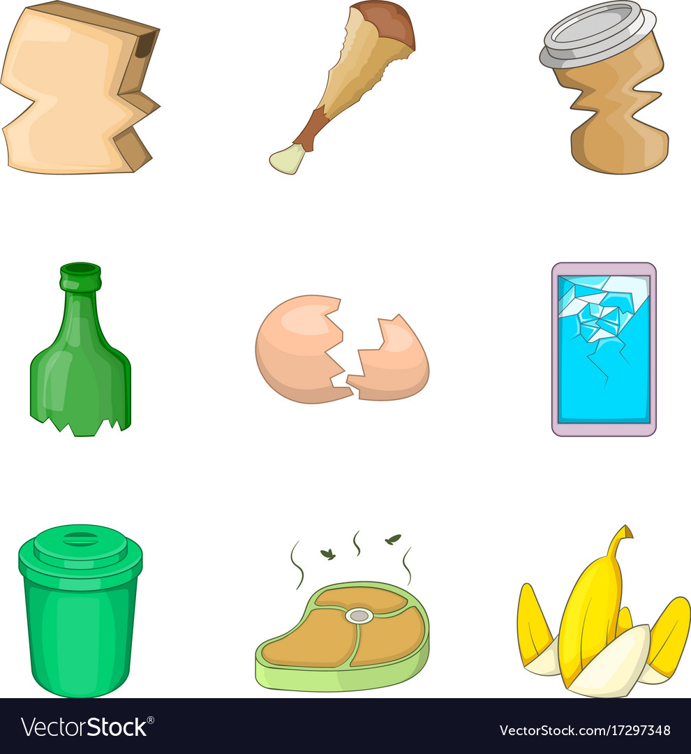Kitchen Cleaning Icon Set Cartoon Style Royalty Free Vector