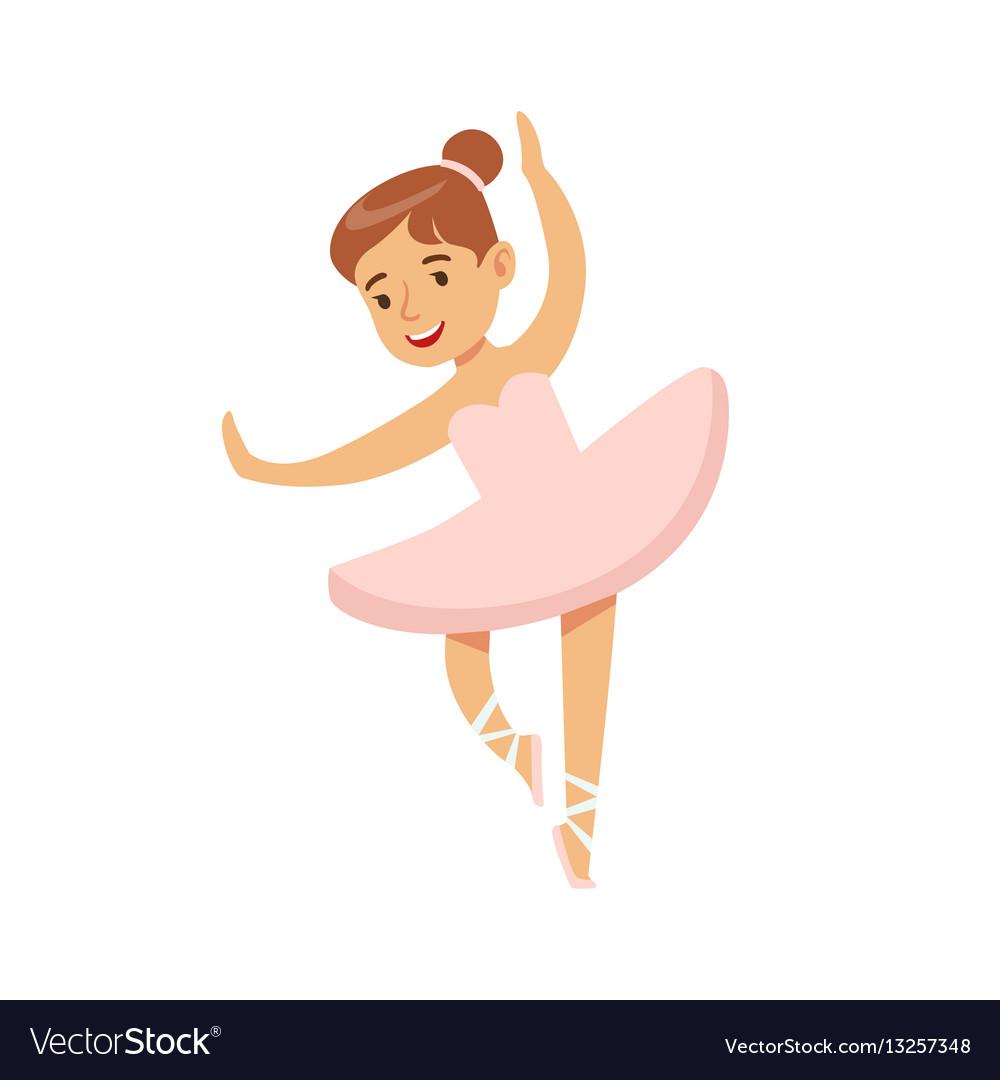 6819aeebf184 Little girl in pink dress dancing ballet in Vector Image