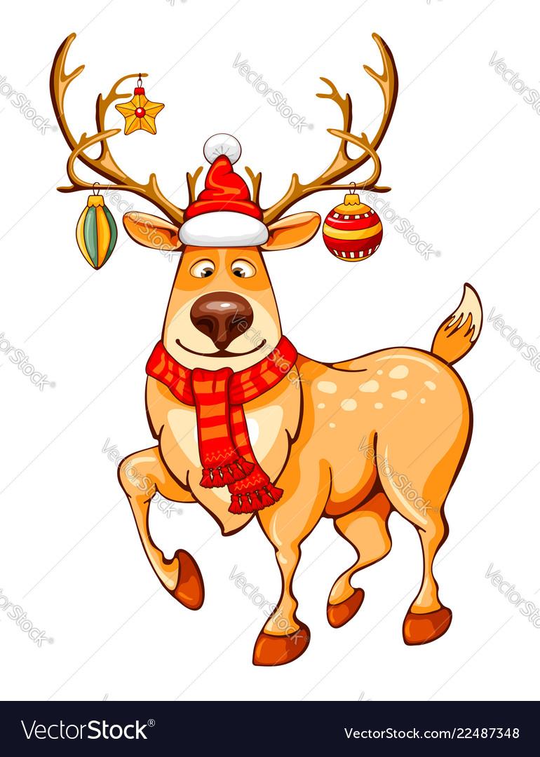 Merry Christmas Cartoon Reindeer