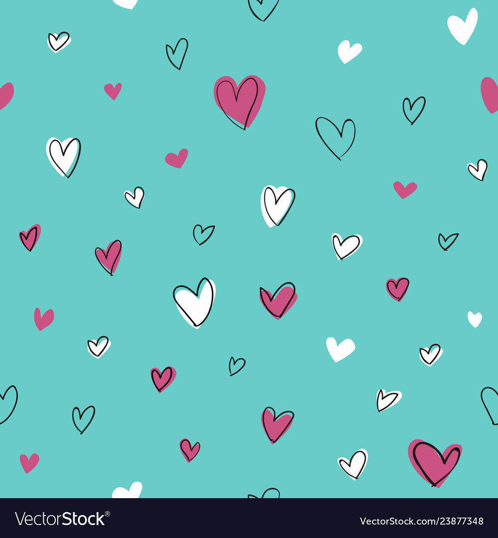 Seamless hand drawn hearts pattern