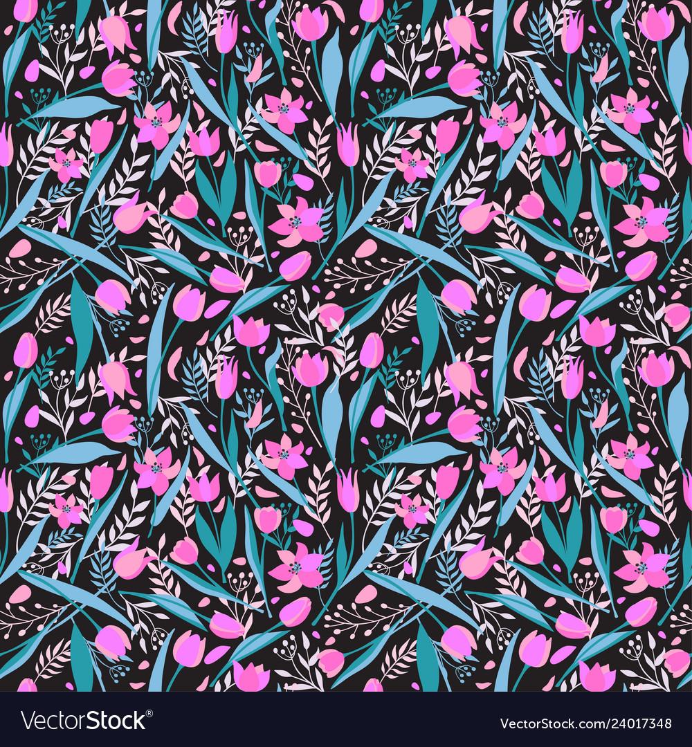 Seamless pattern of cute stylish tulips