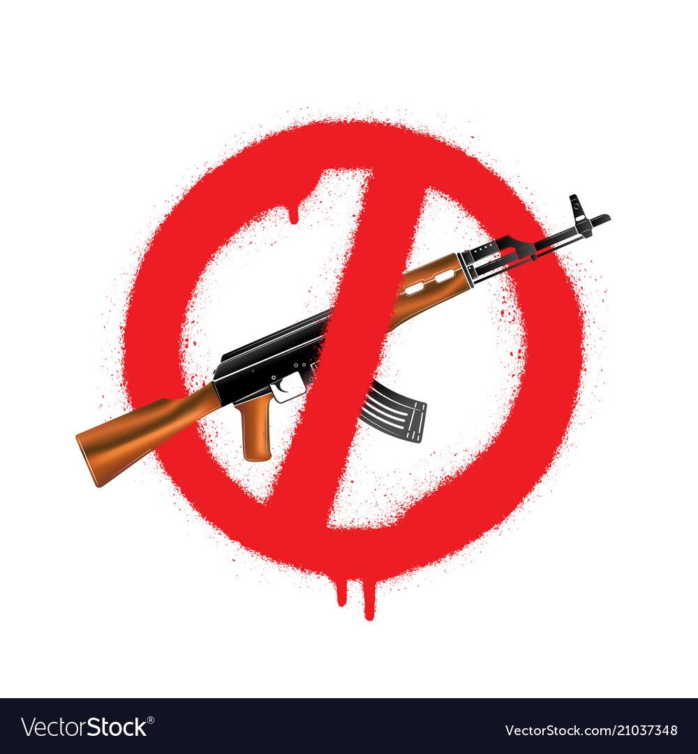 Sign no weapon kalashnikov assault rifle vector image on VectorStock
