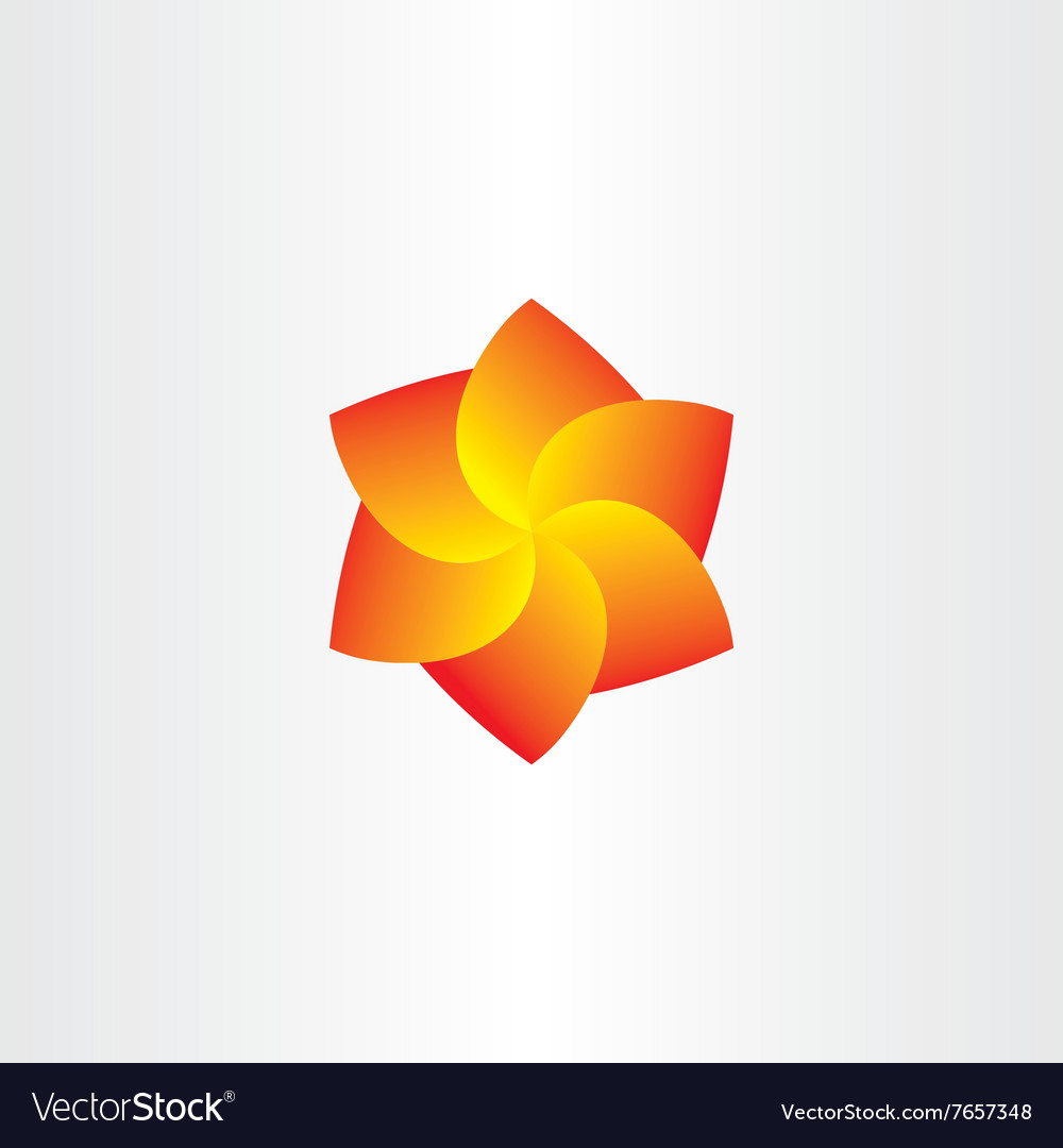 Yellow Red Spiral Flower Icon Royalty Free Vector Image