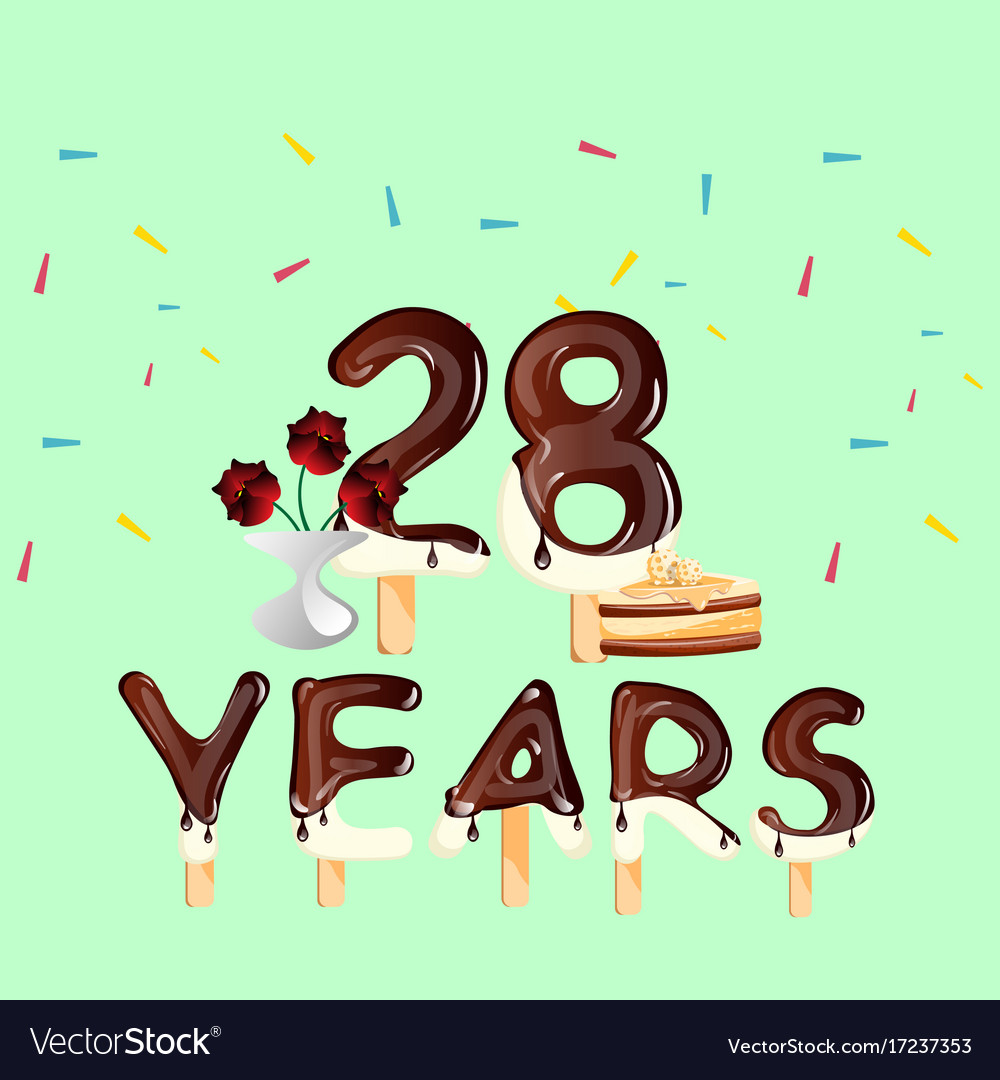 Открытка 28 лет