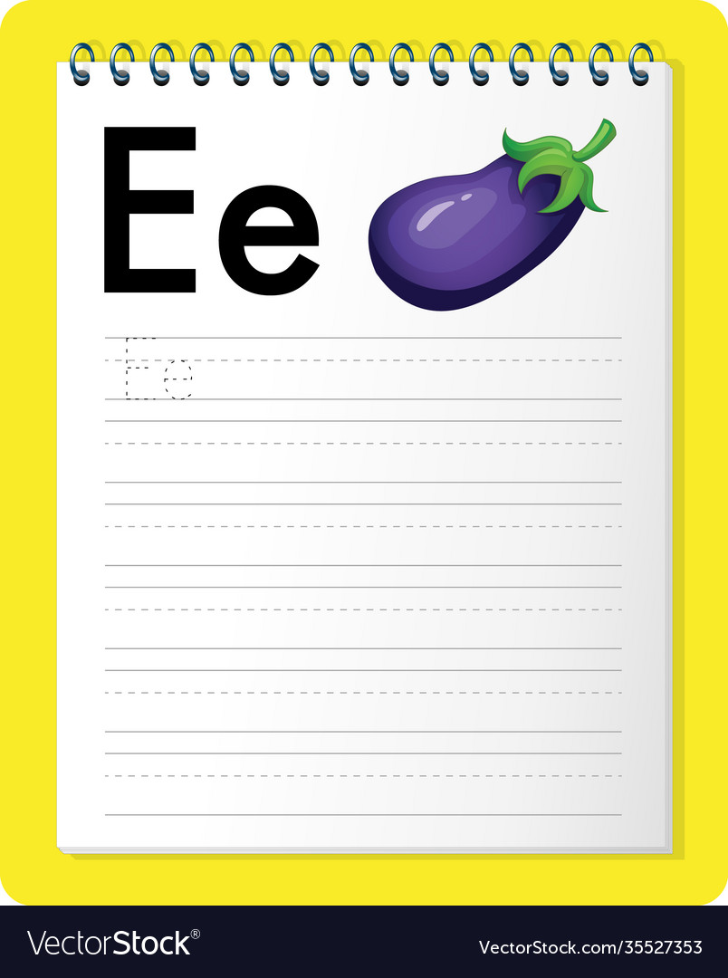 Alphabet tracing worksheet with letter e and e