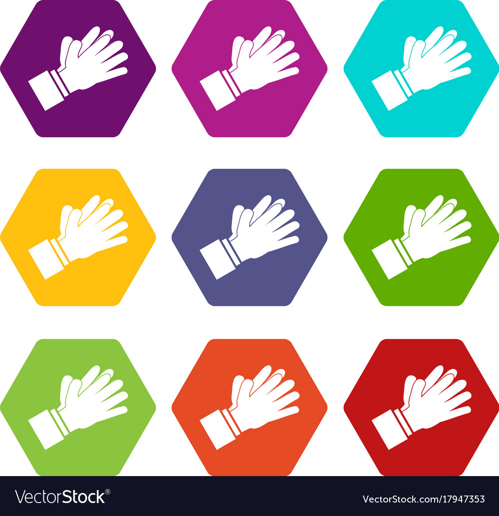 Clapping applauding hands icon set color