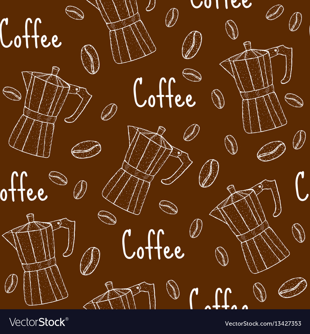 Coffee seamless pattern with coffee maker cafe