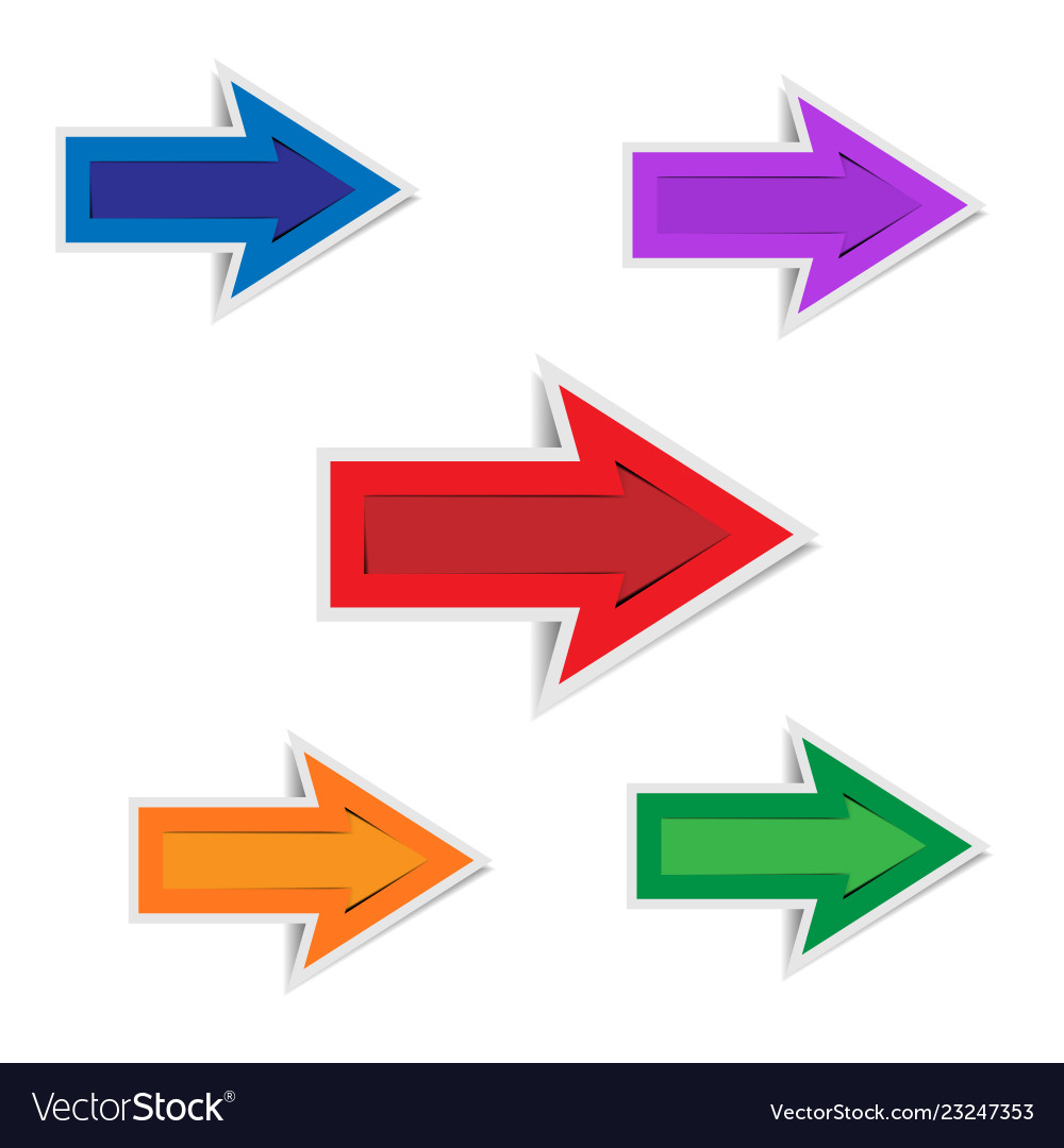 Colorful paper arrows on white background