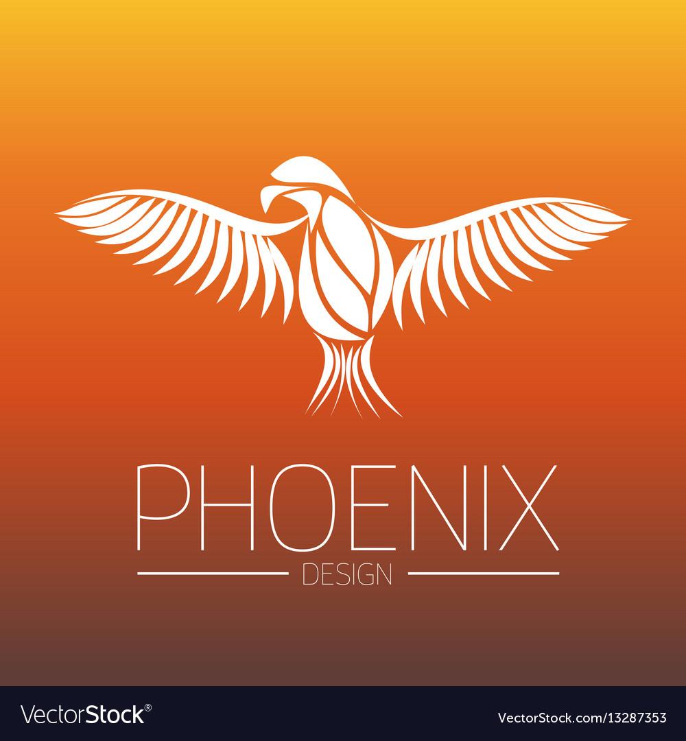 Flaming phoenix bird with wide spread wings in