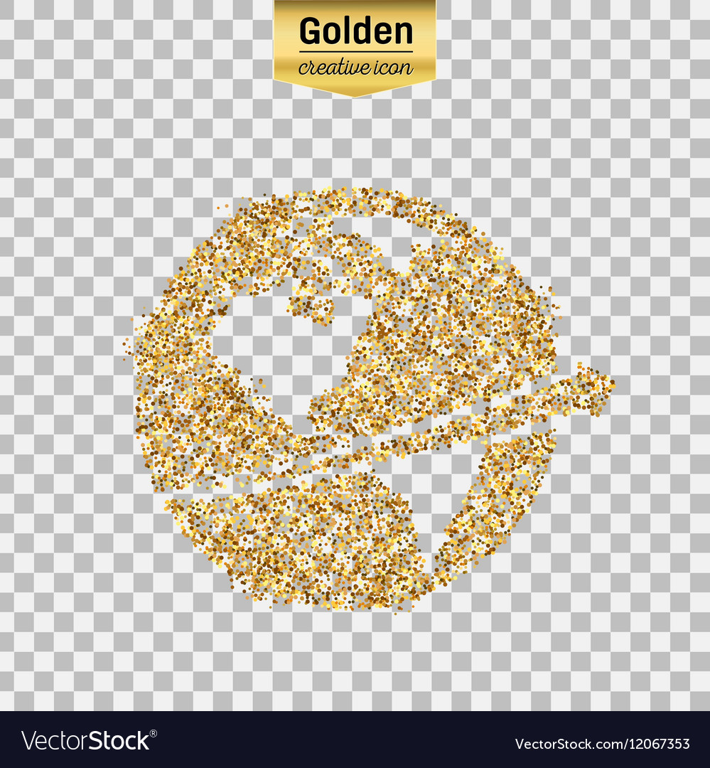 Gold glitter icon of planet earth isolated
