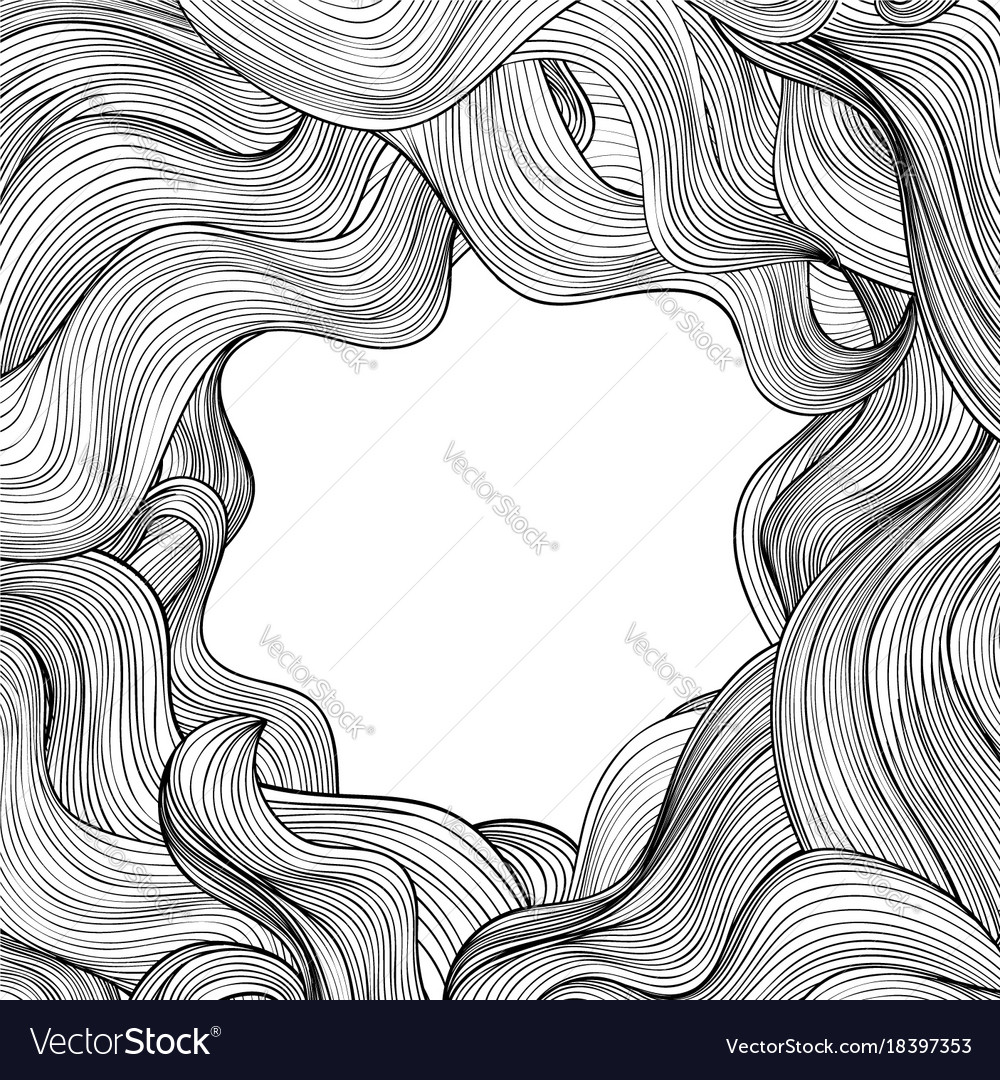 Hair outline background wavy hair frame beauty