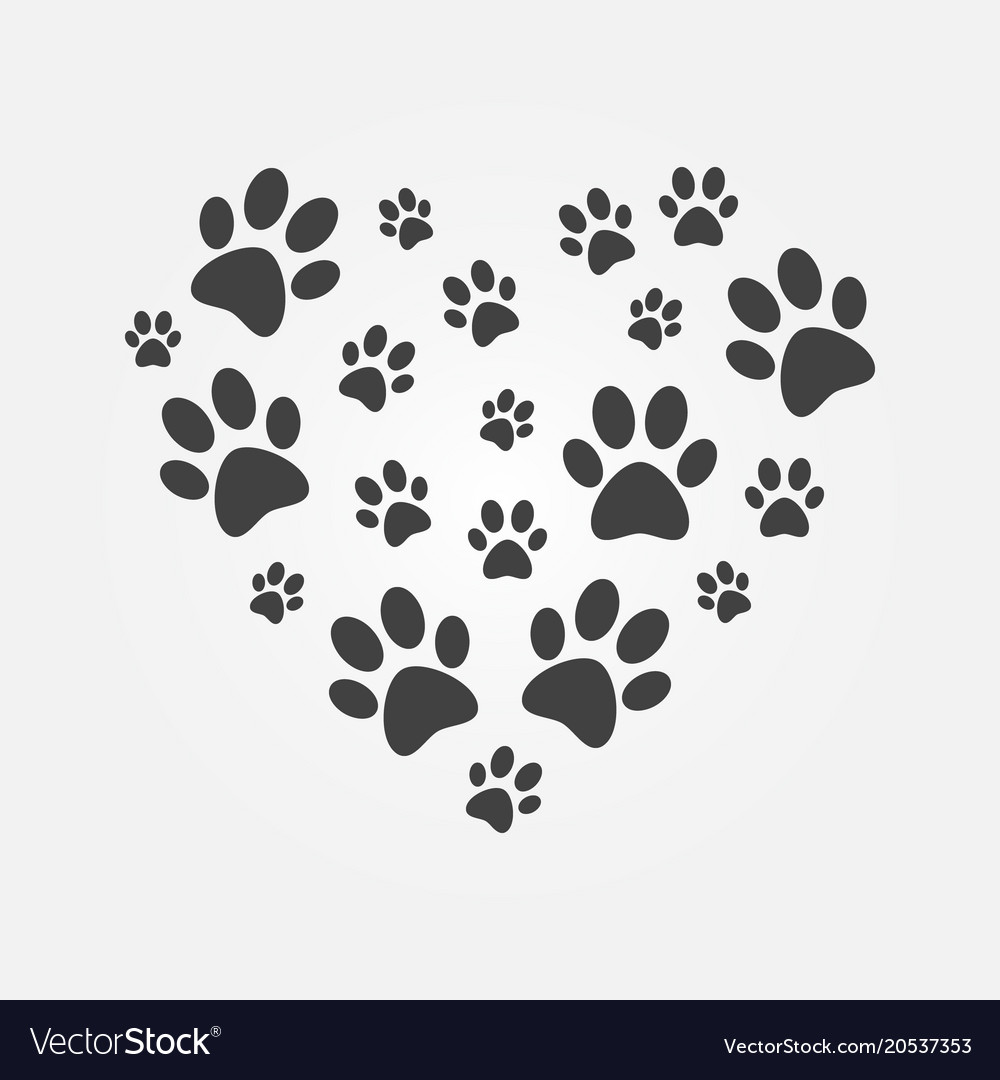 Heart With Icons Of Dog Paw Prints Royalty Free Vector Image