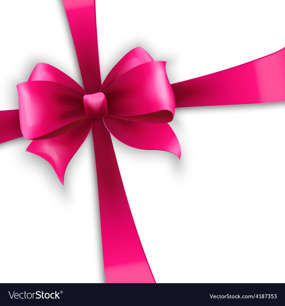 invitation card with pink holiday ribbon and bow vector image