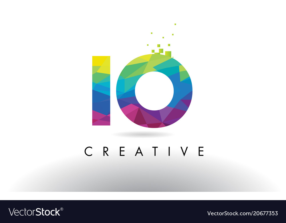 Io i o colorful letter origami triangles design vector image