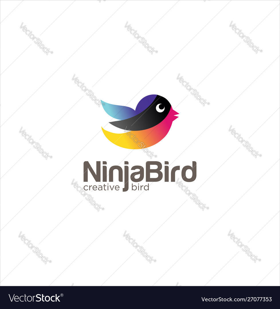 Ninja bird logo design creative sign colorful ni vector image