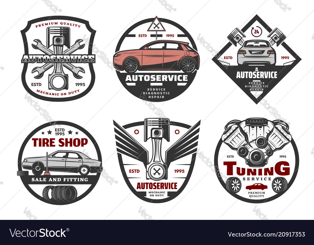 Set of icons for auto service