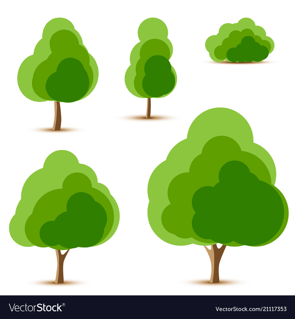 Set of tree and bush icons
