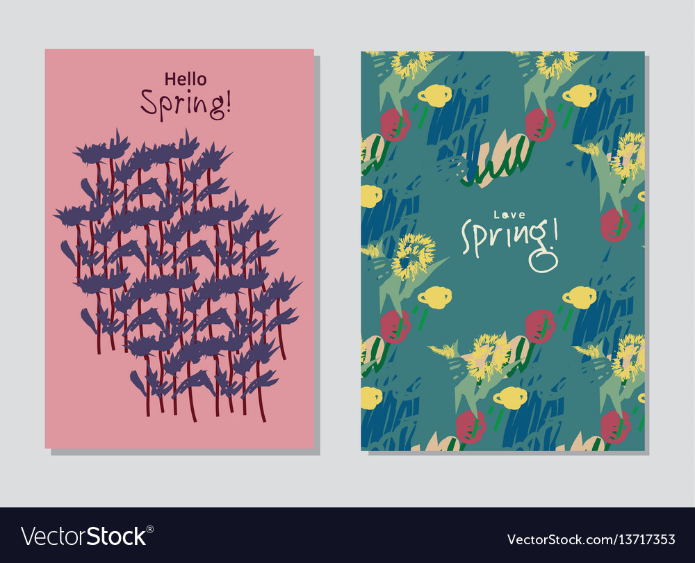 Spring set universal floral cards and text signs