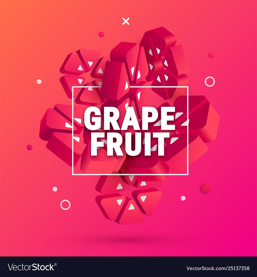 3d geometric grapefruit banner