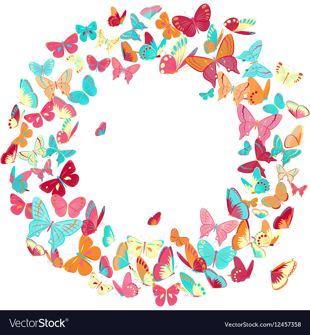 ad3b48288a Butterfly frame wreath design element retro Vector Image