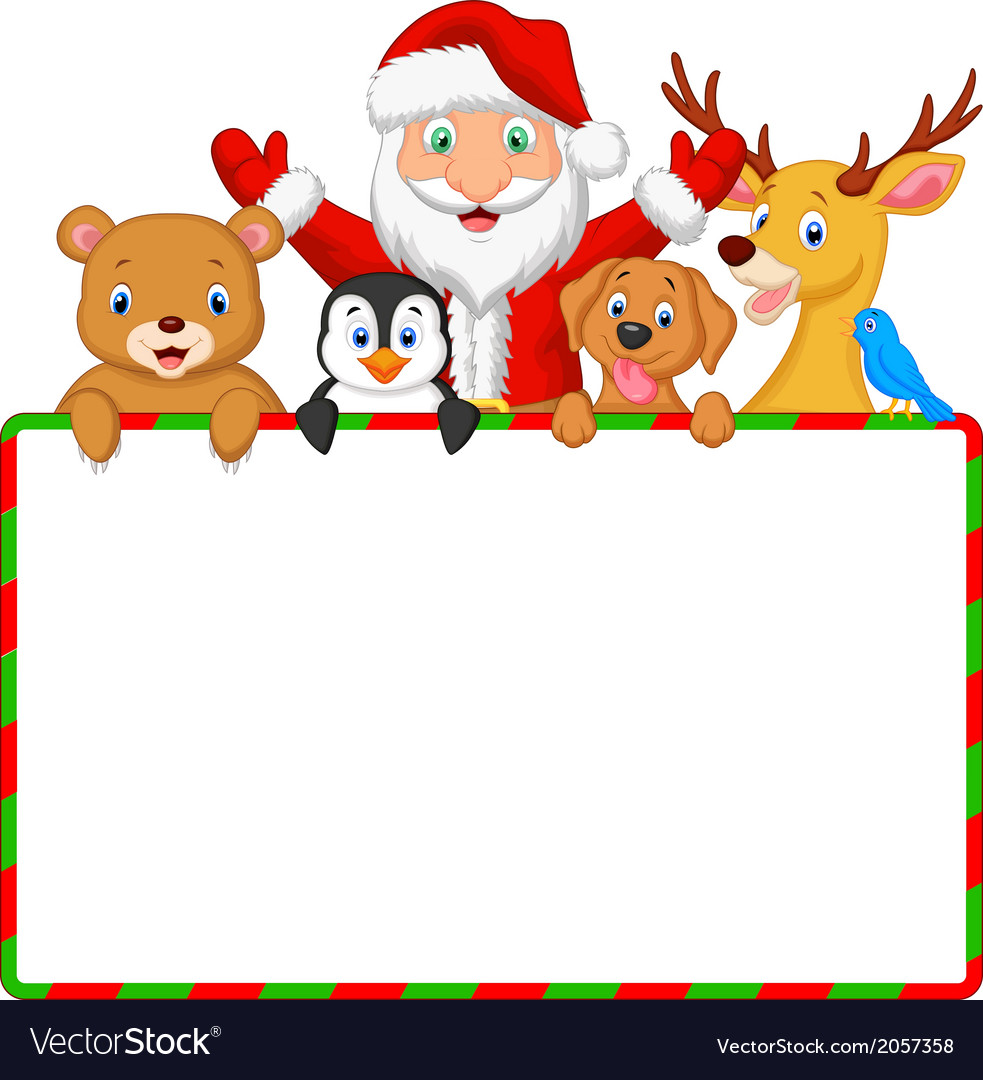 Cartoon Santa and friend with blank sign