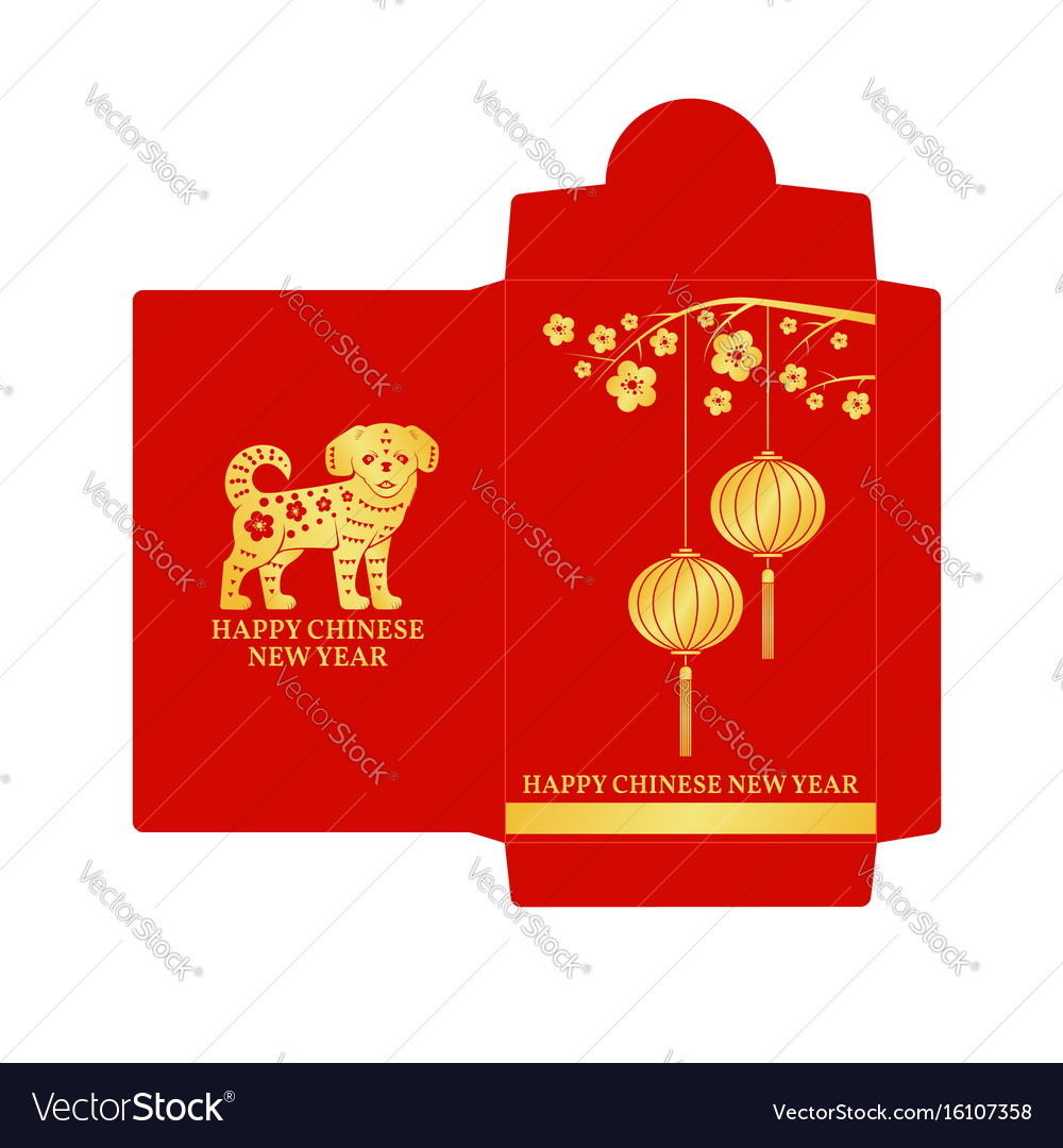 chinese new year red envelope flat icon royalty free vector