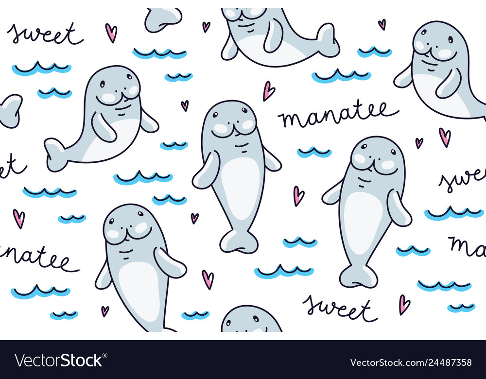 Cute cartoon manatee hand drawn seamless pattern