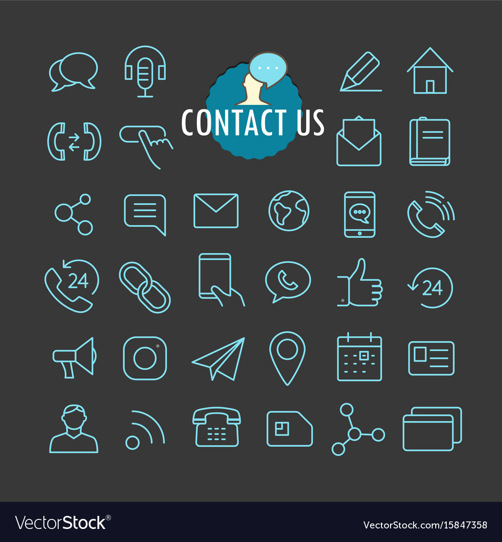 Different contact icons collection web and mobile