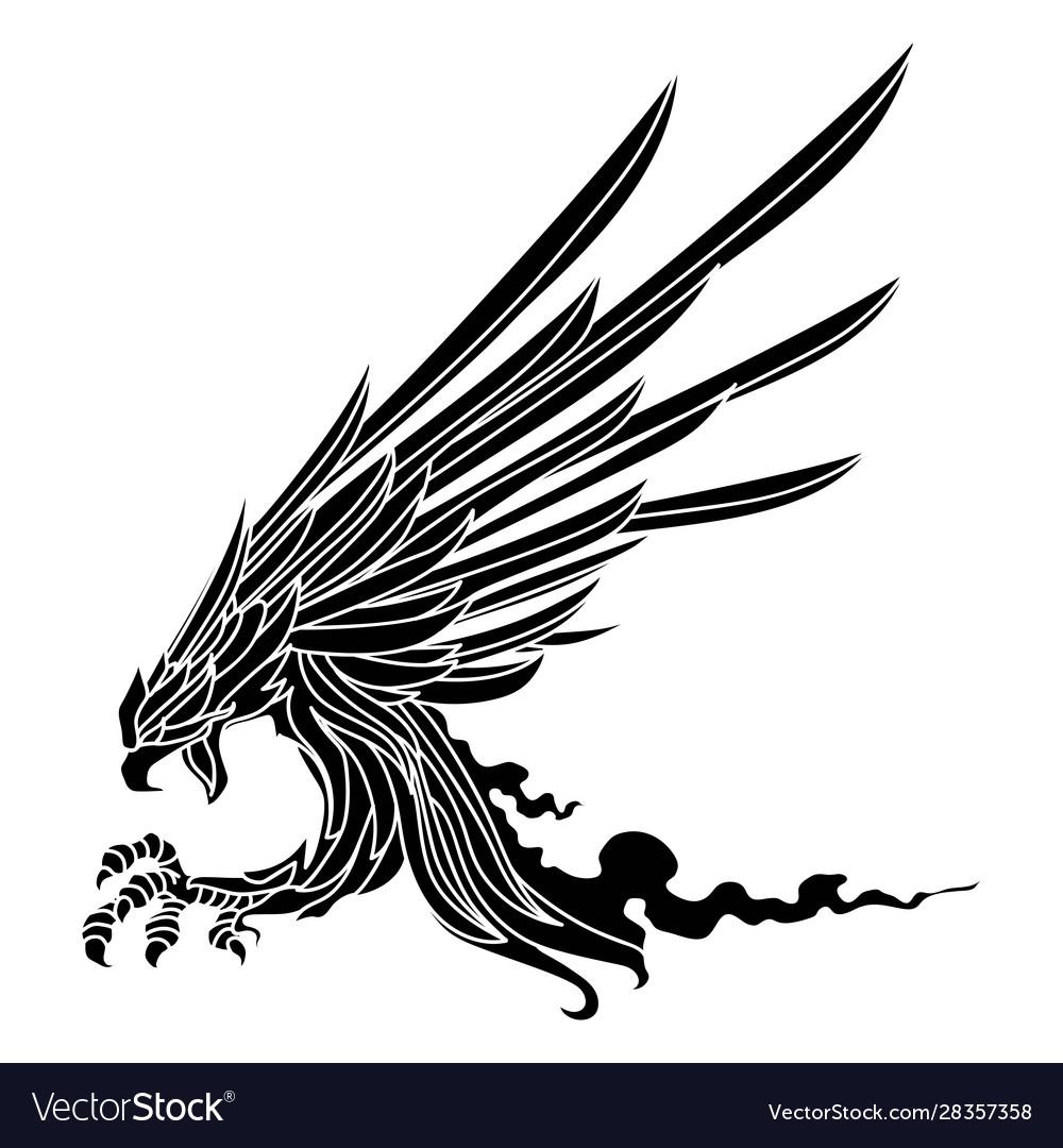 Eagle soaring rising wings logo design