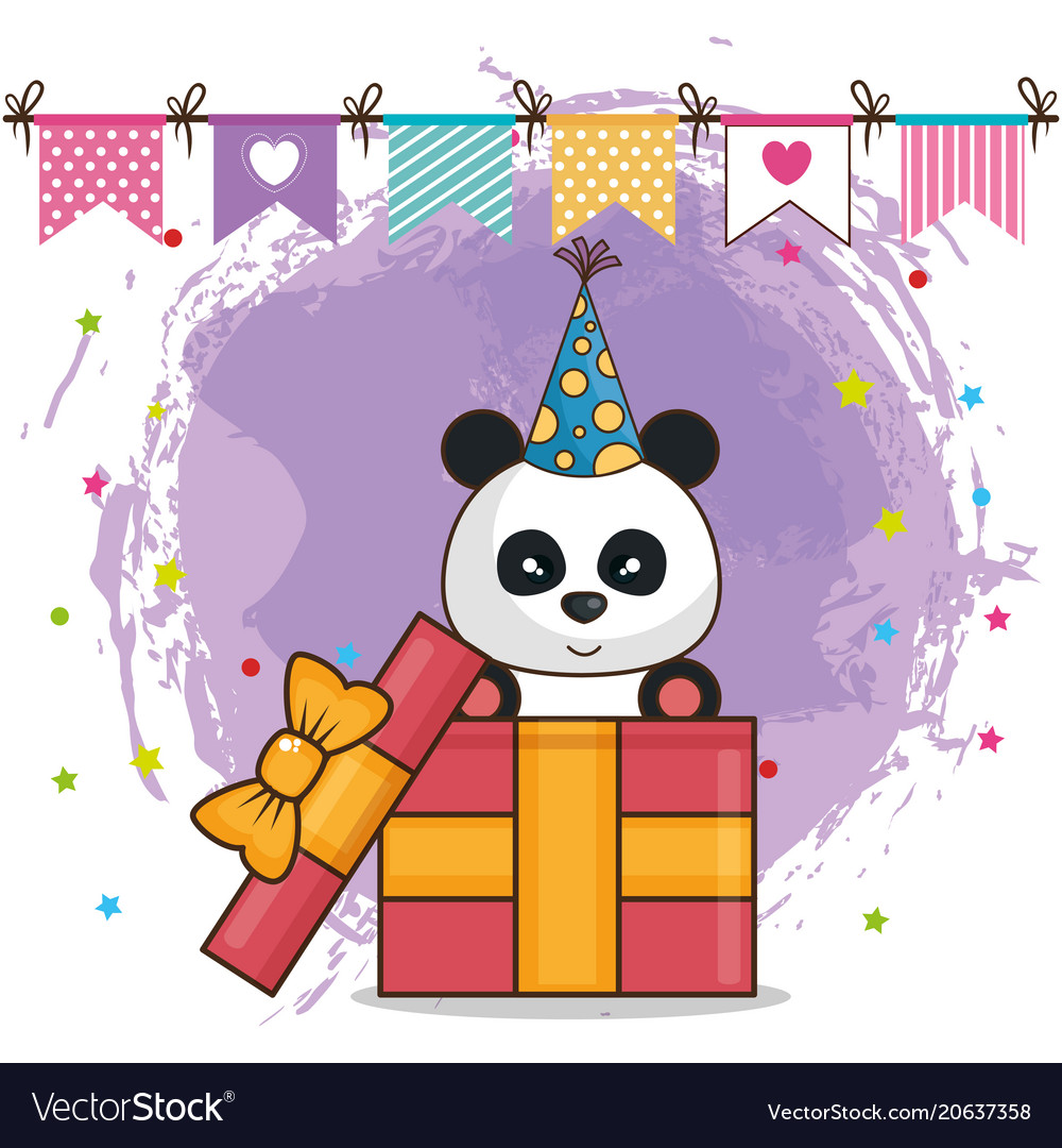 Happy birthday card with bear panda vector image