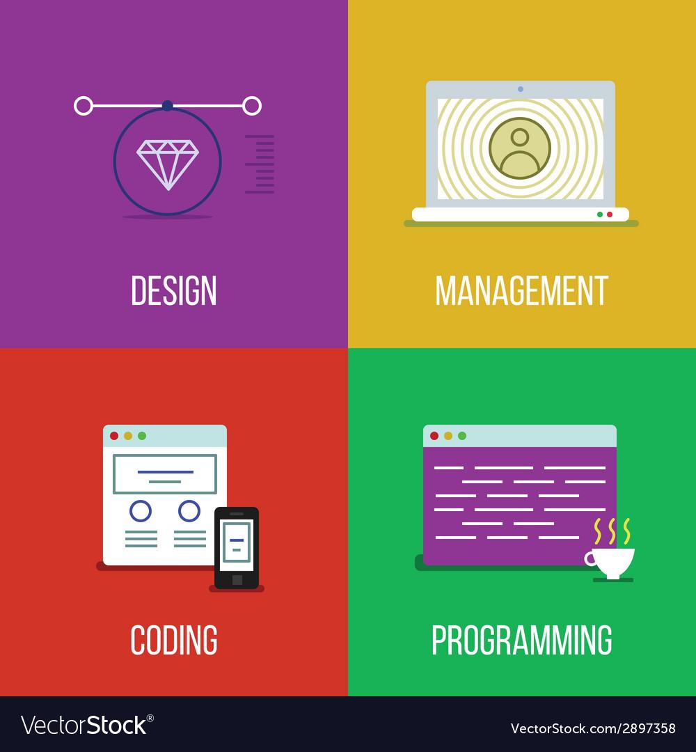 Infographic icon set of design management coding