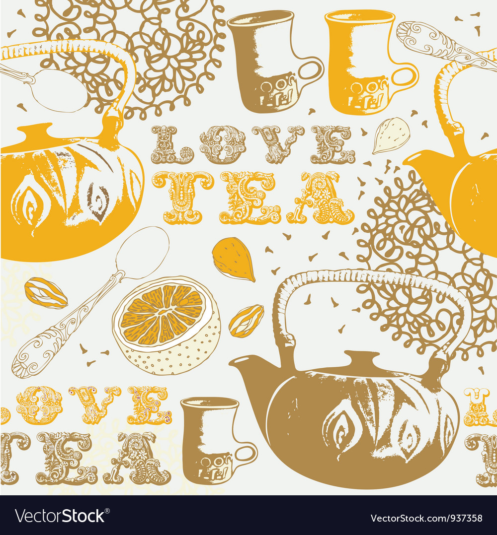 Love Tea Background Pattern