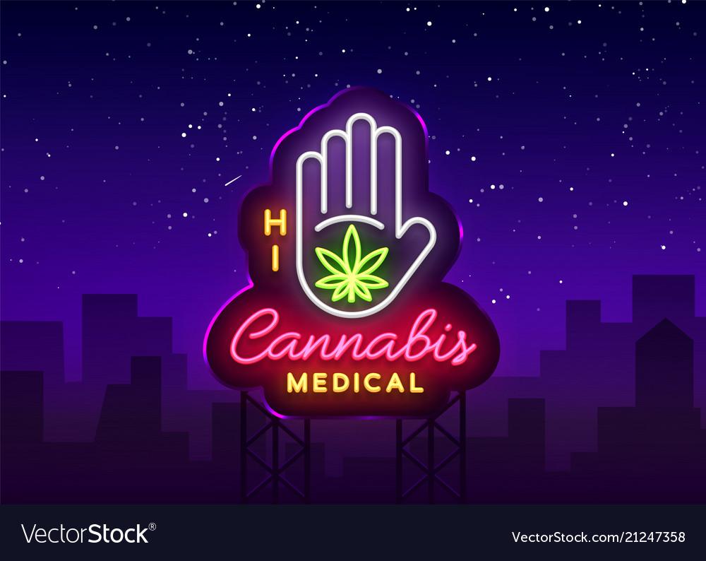 Marijuana medical neon sign and logo graphic