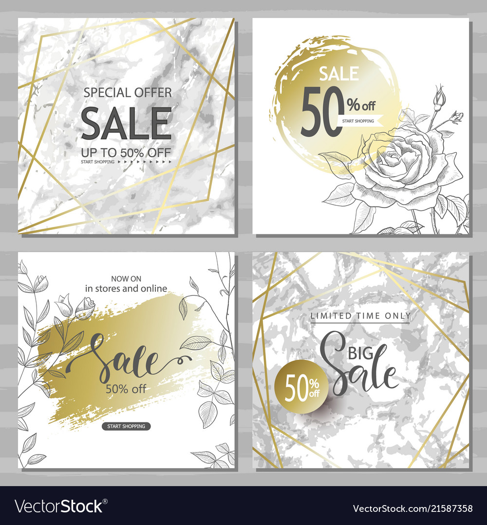 Modern geometric social media banners with golden
