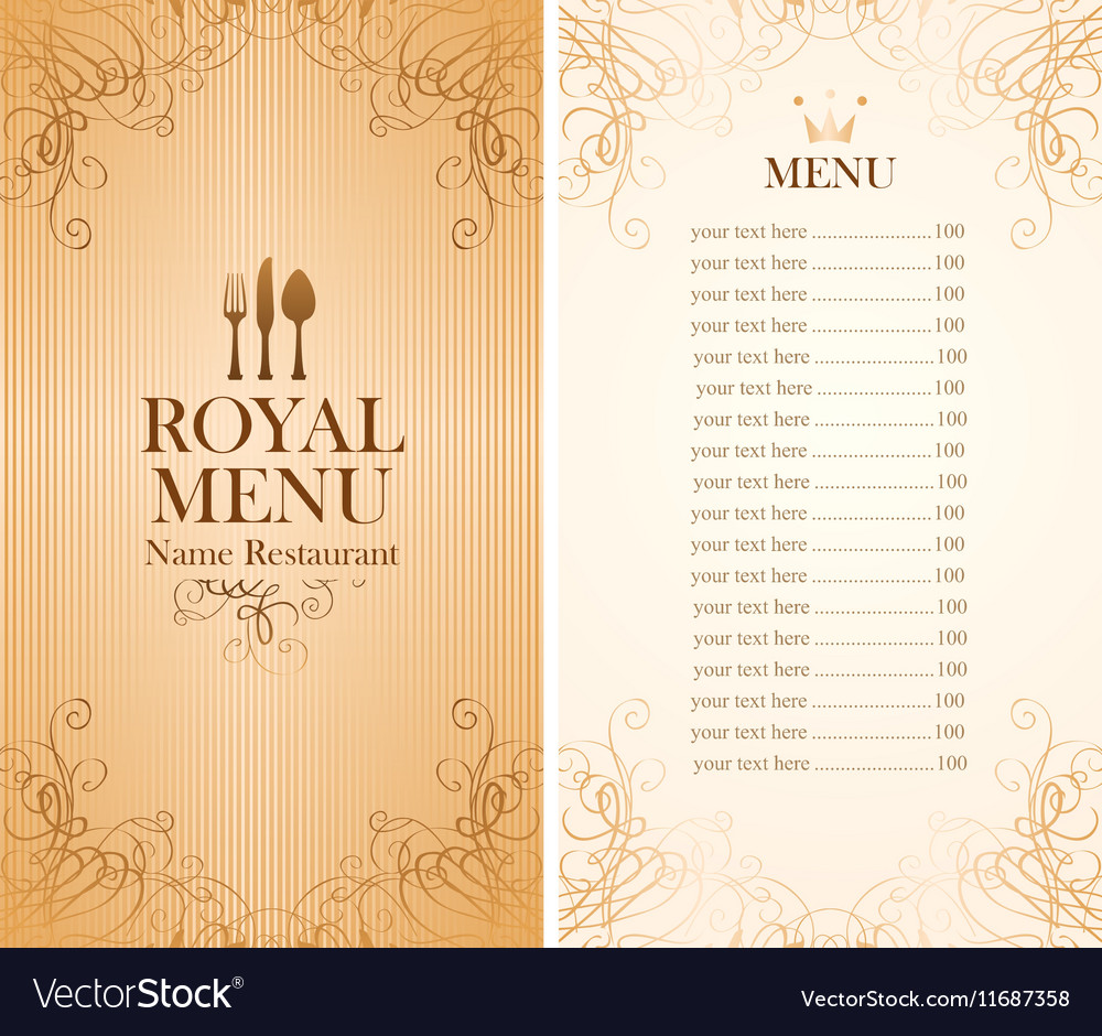 Royal menu for a cafe vector image